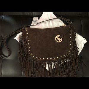 Michael Kors brown suede saddle handbag